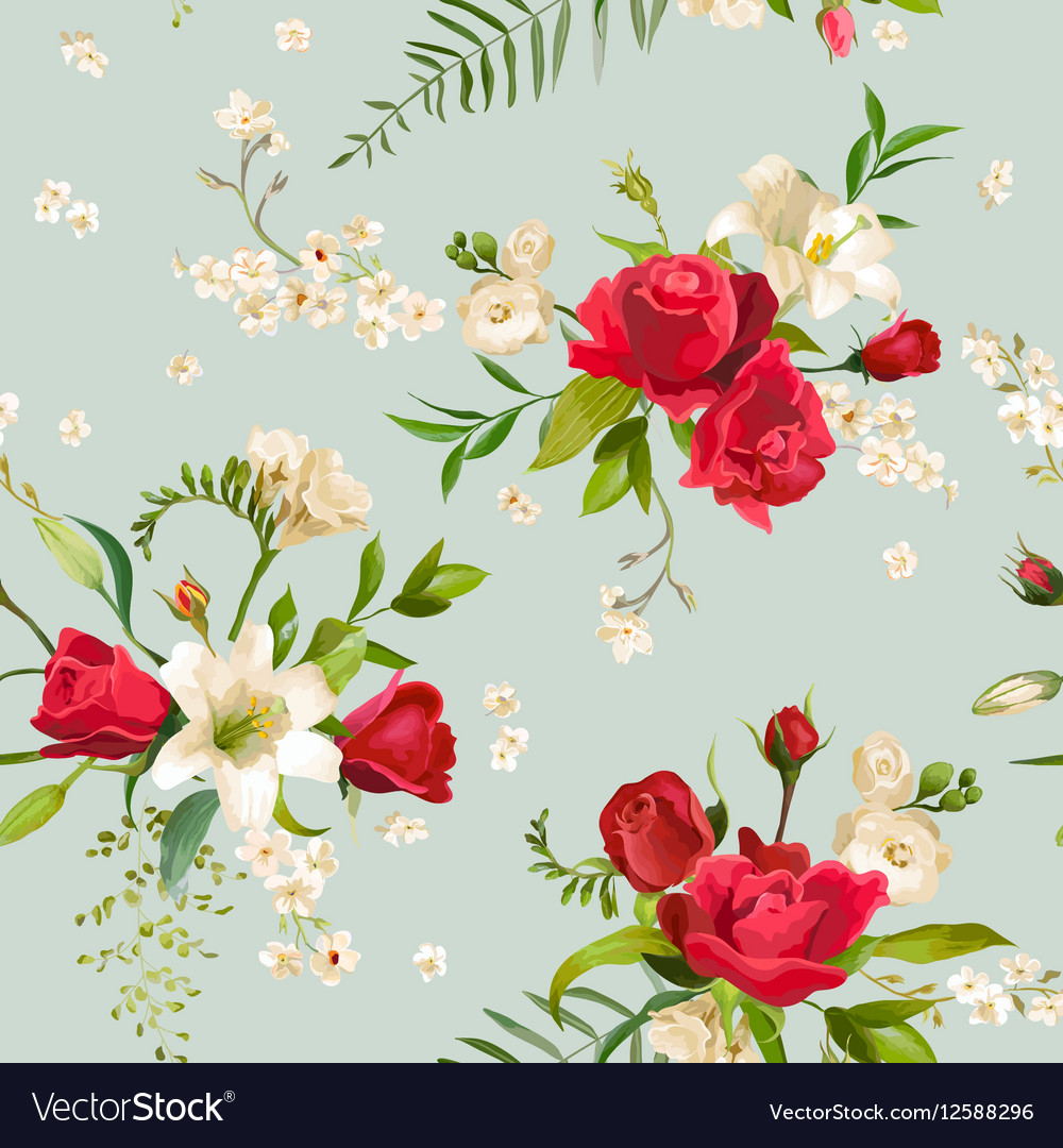 7fd6abf9a3998 Vintage Rose and Lily Flowers Background