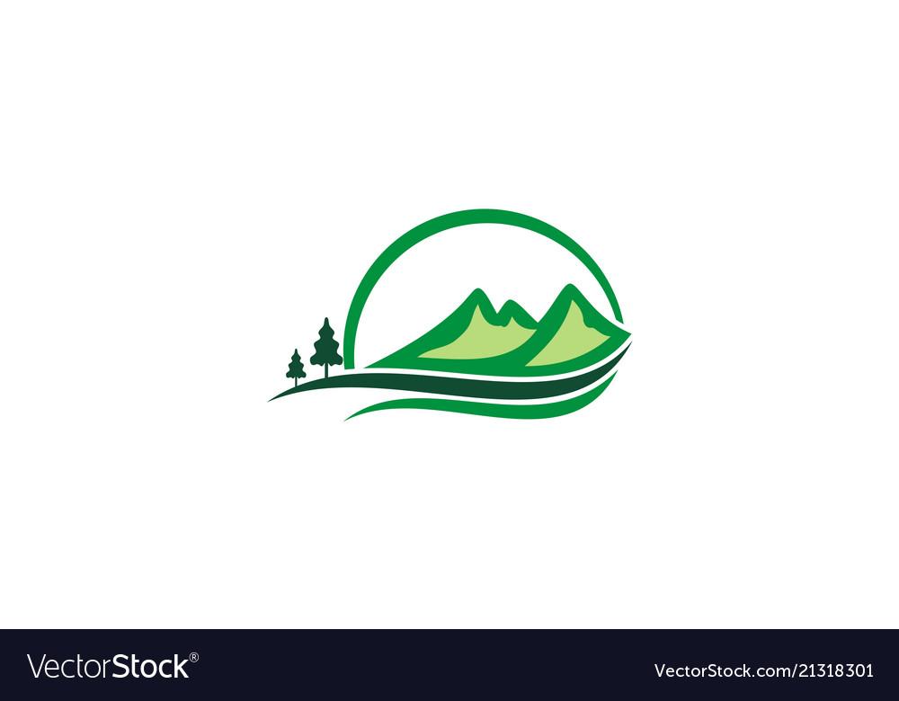 Mountain hill pine tree logo