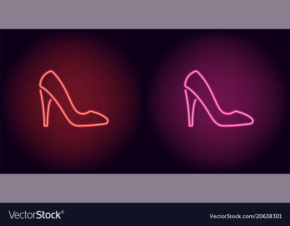 a80ce18ec088 Neon women shoe in red and pink color Royalty Free Vector