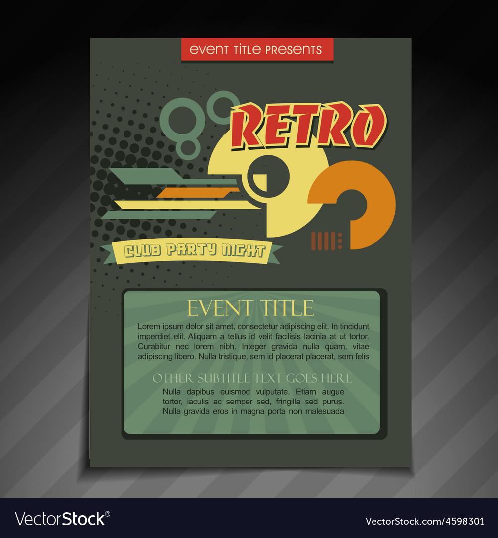 retro brochure design royalty free vector image