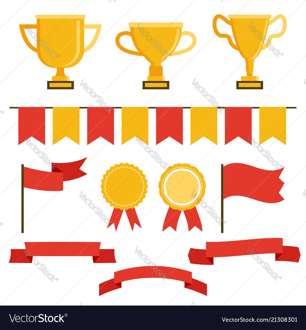 Trophy icon set in flat style