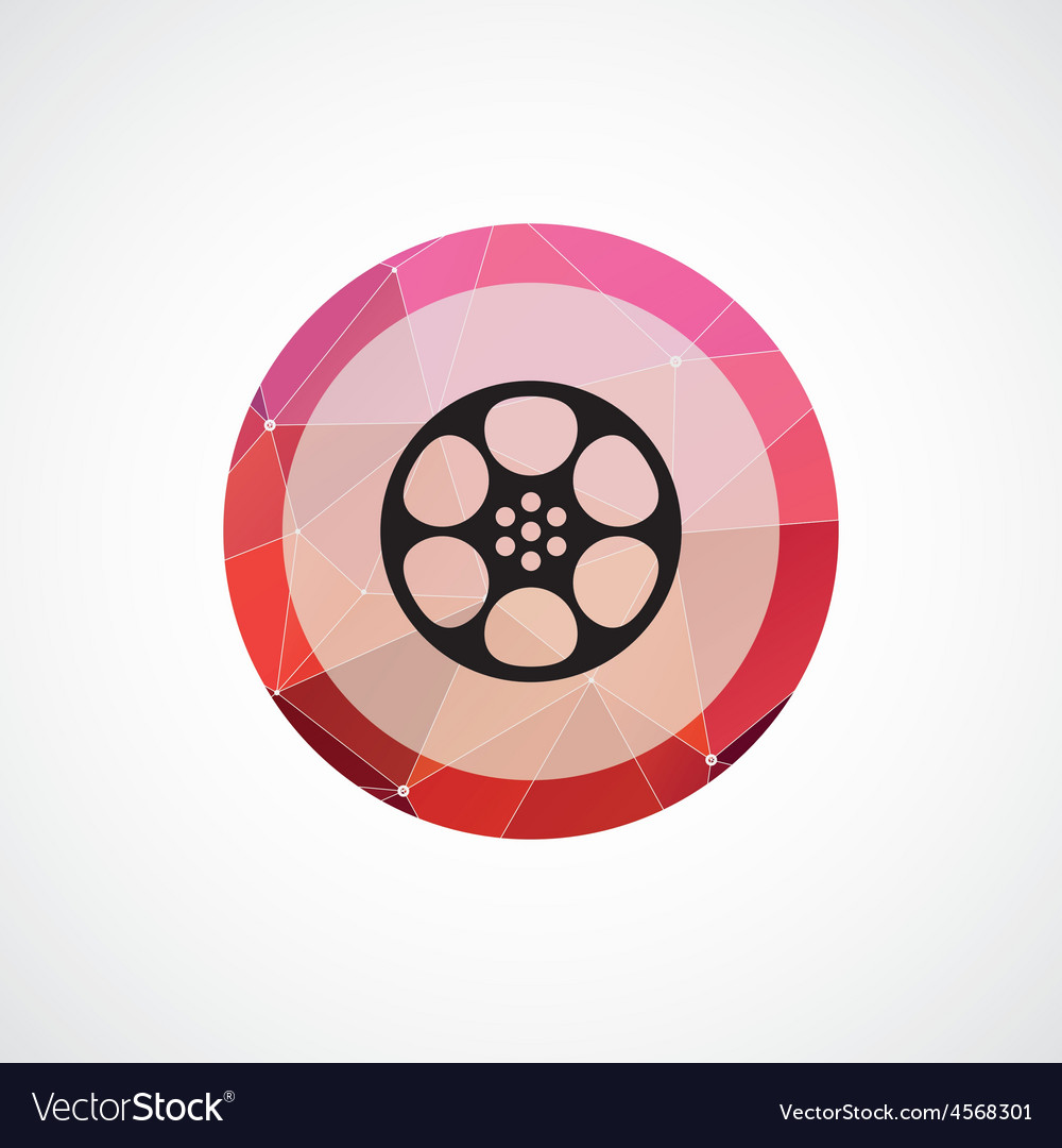 Video film circle pink triangle background icon