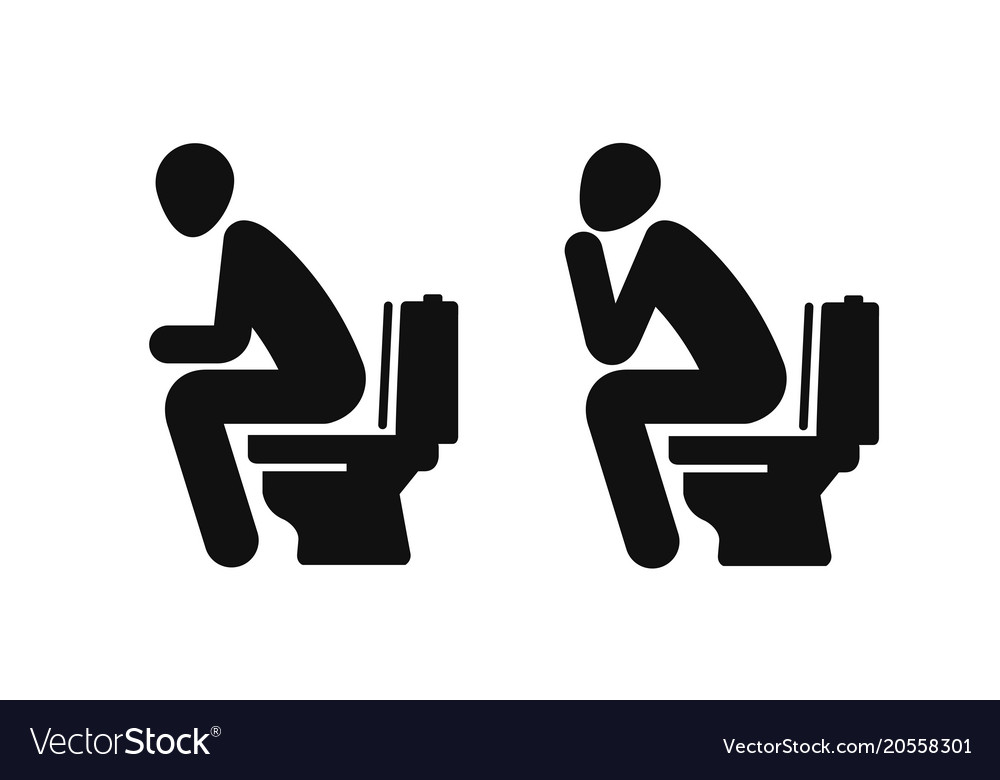 Wc funny symbol man sitting on toilet