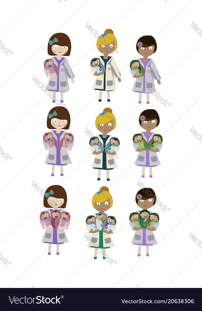 A set of characters an obstetrician nurse holding