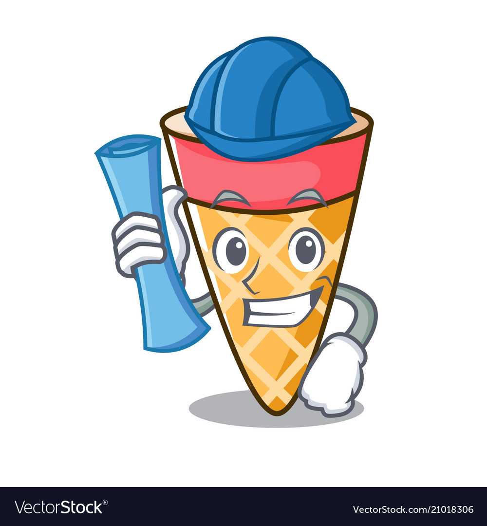 Architect ice cream tone character cartoon