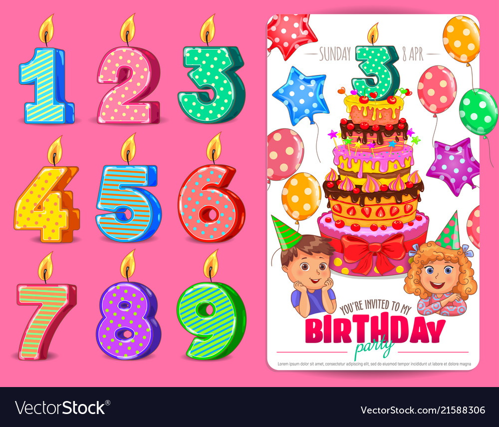 Birthday Numbers Candle With Cute Kids And Cake Vector Image