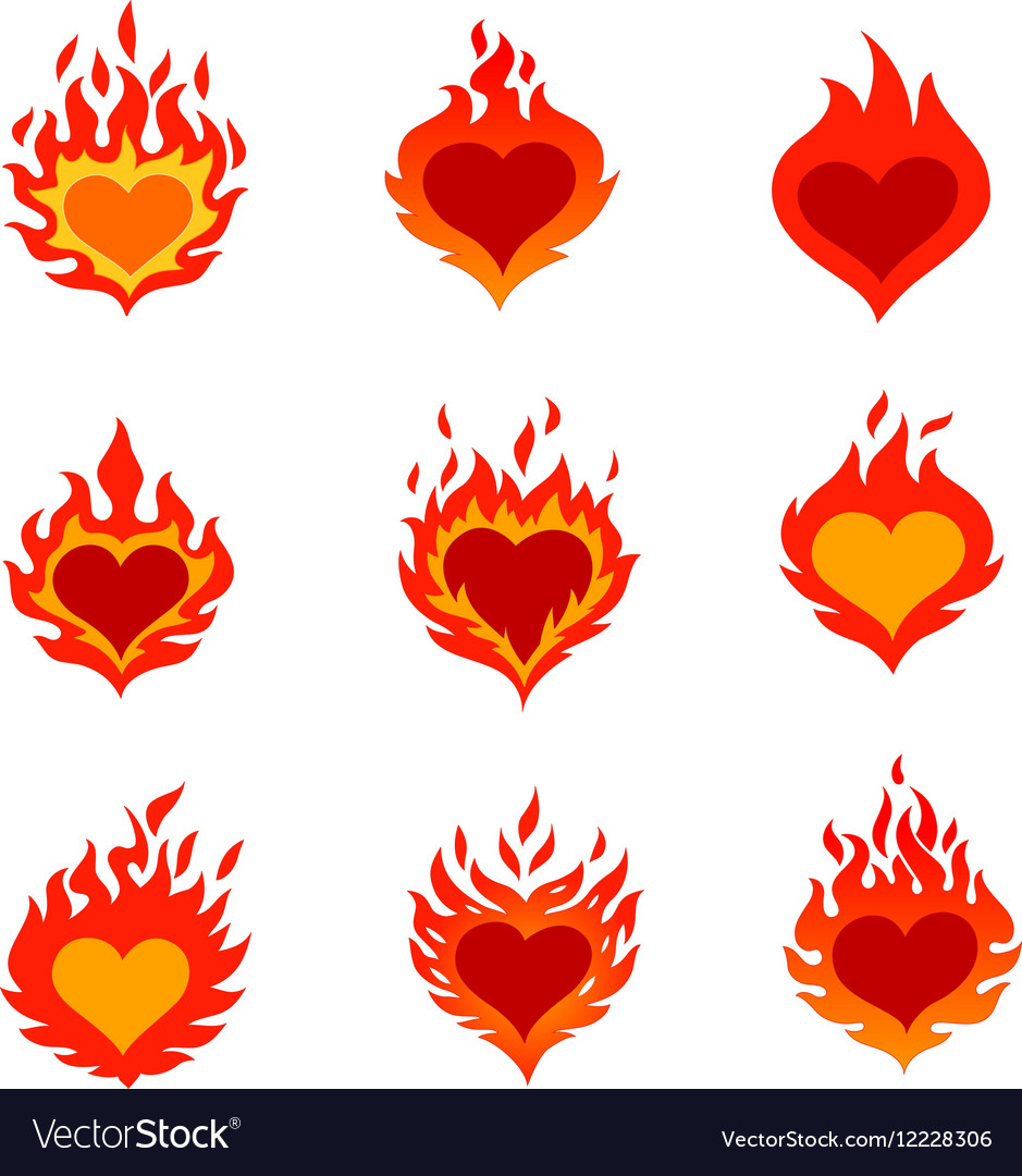 Fired heart icons set vector image