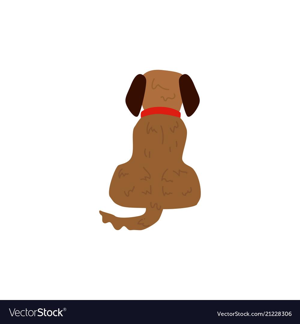 Flat sitting dog pet icon