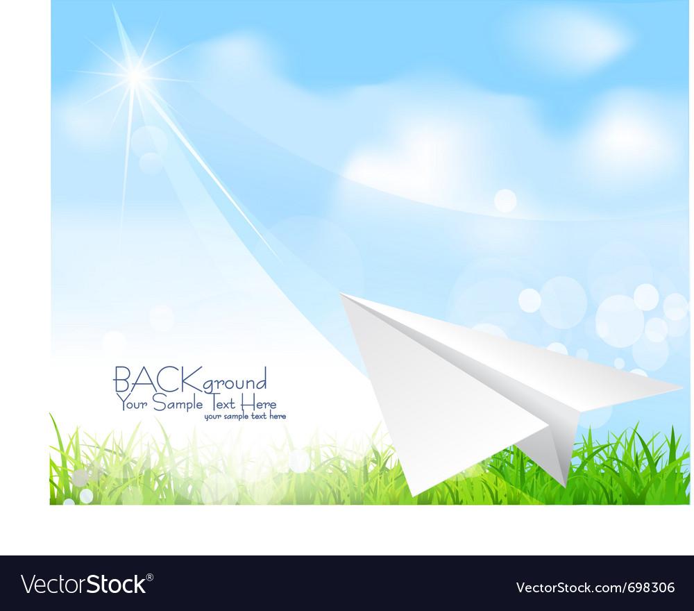 Flying paper plane background vector image