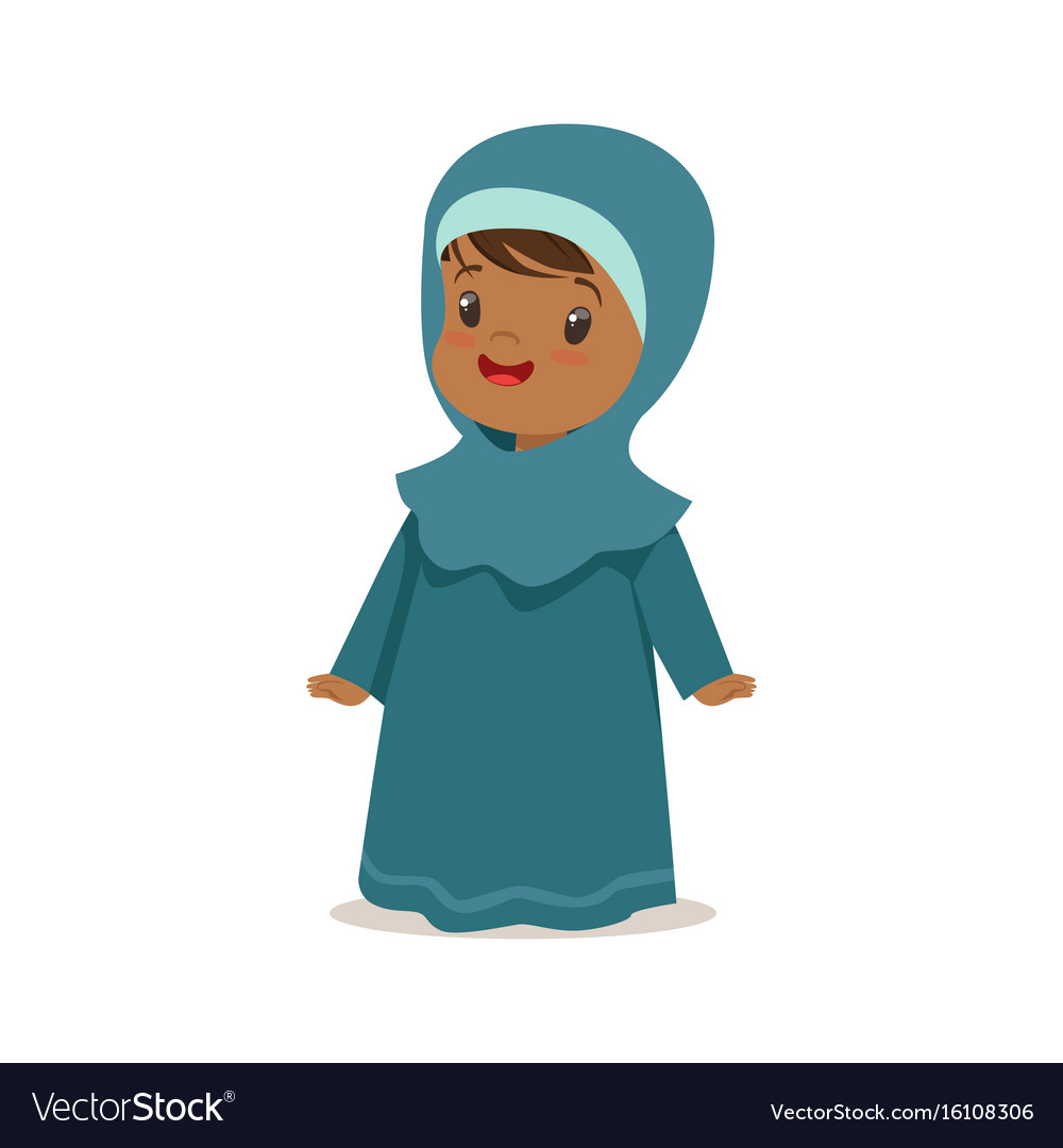 Girl wearing national costume of uae islamic vector image