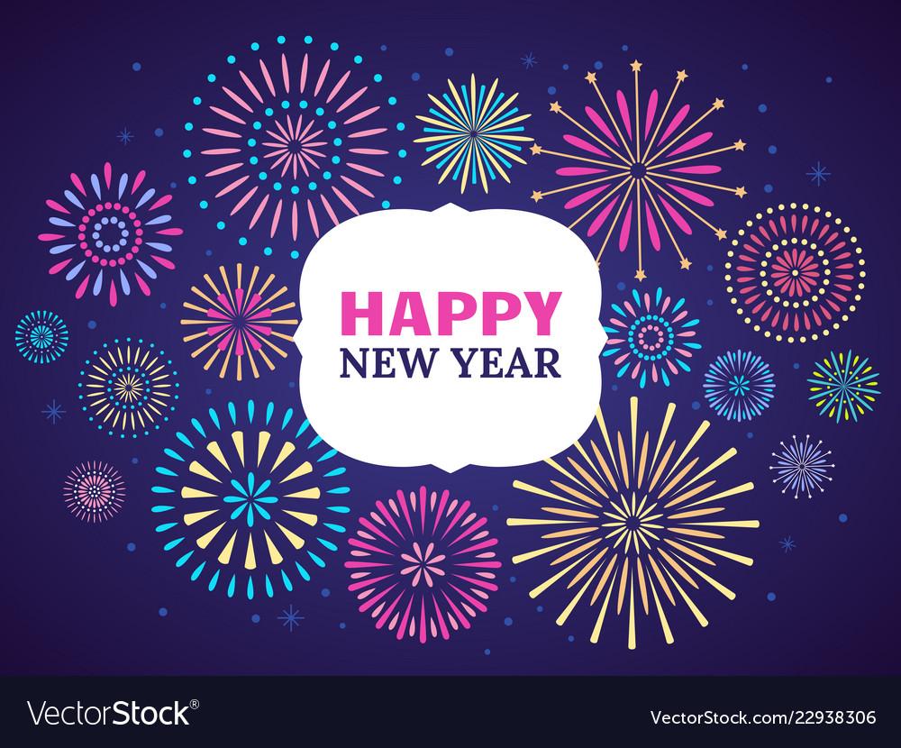 Happy new year firework poster celebration 2019