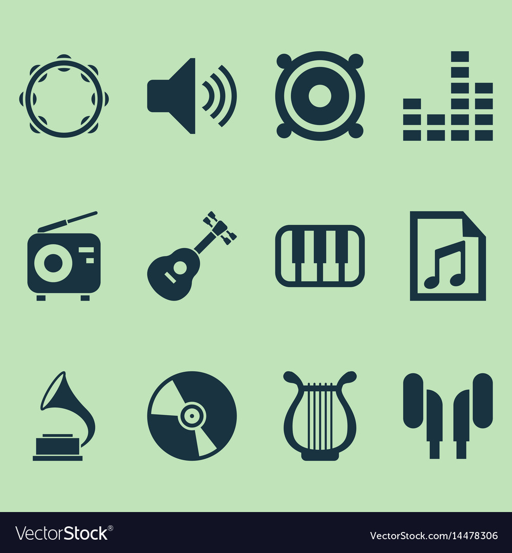 Music icons set collection of equalizer tuner