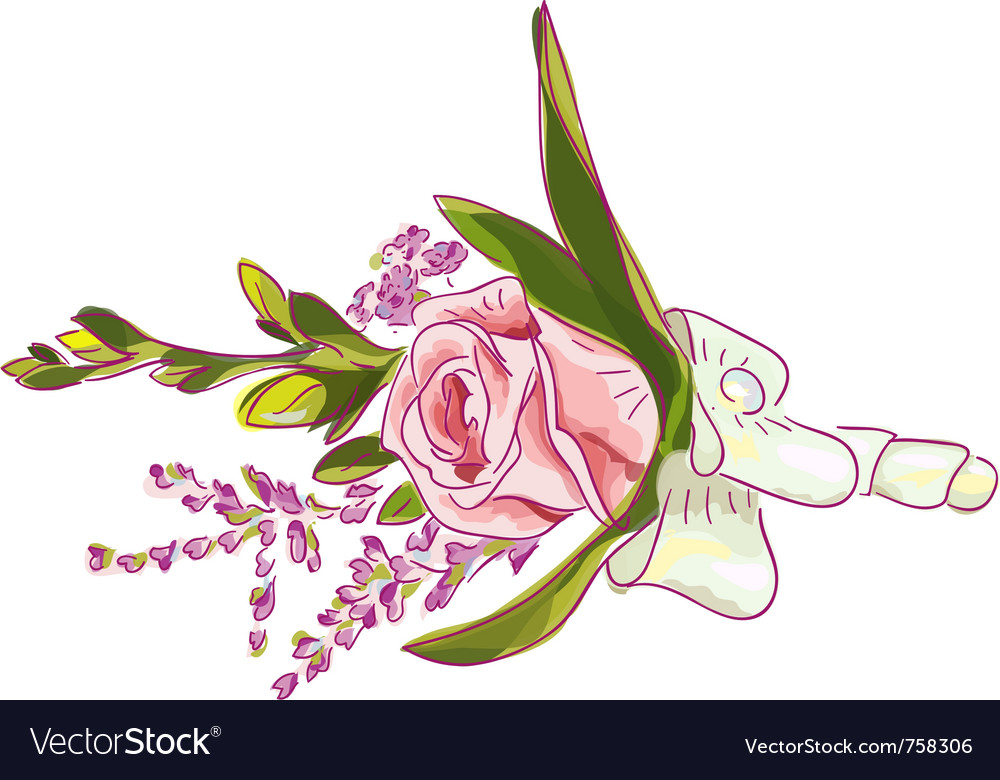 Rose with silk ribbon and meadow flowers