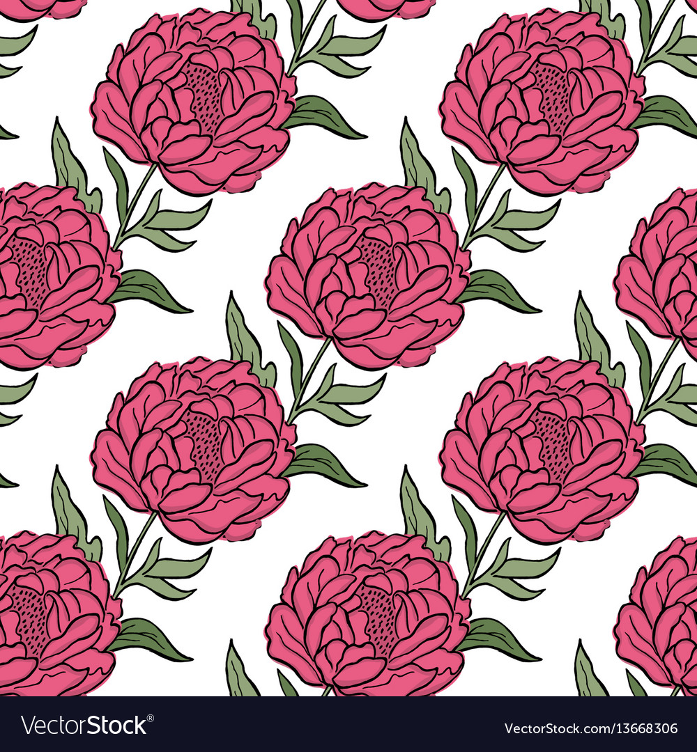 Seamless floral pattern peony flowers and vector image