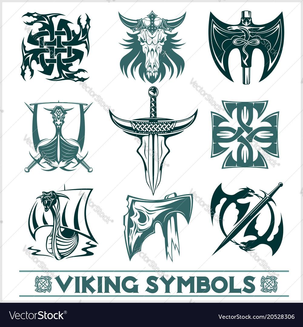 Set Of Viking Symbols Icons Royalty Free Vector Image