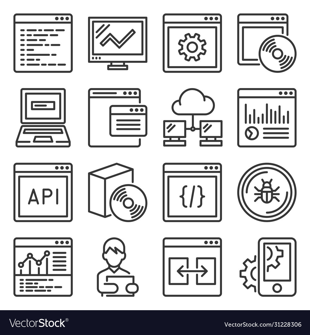 Software and application programming icons set