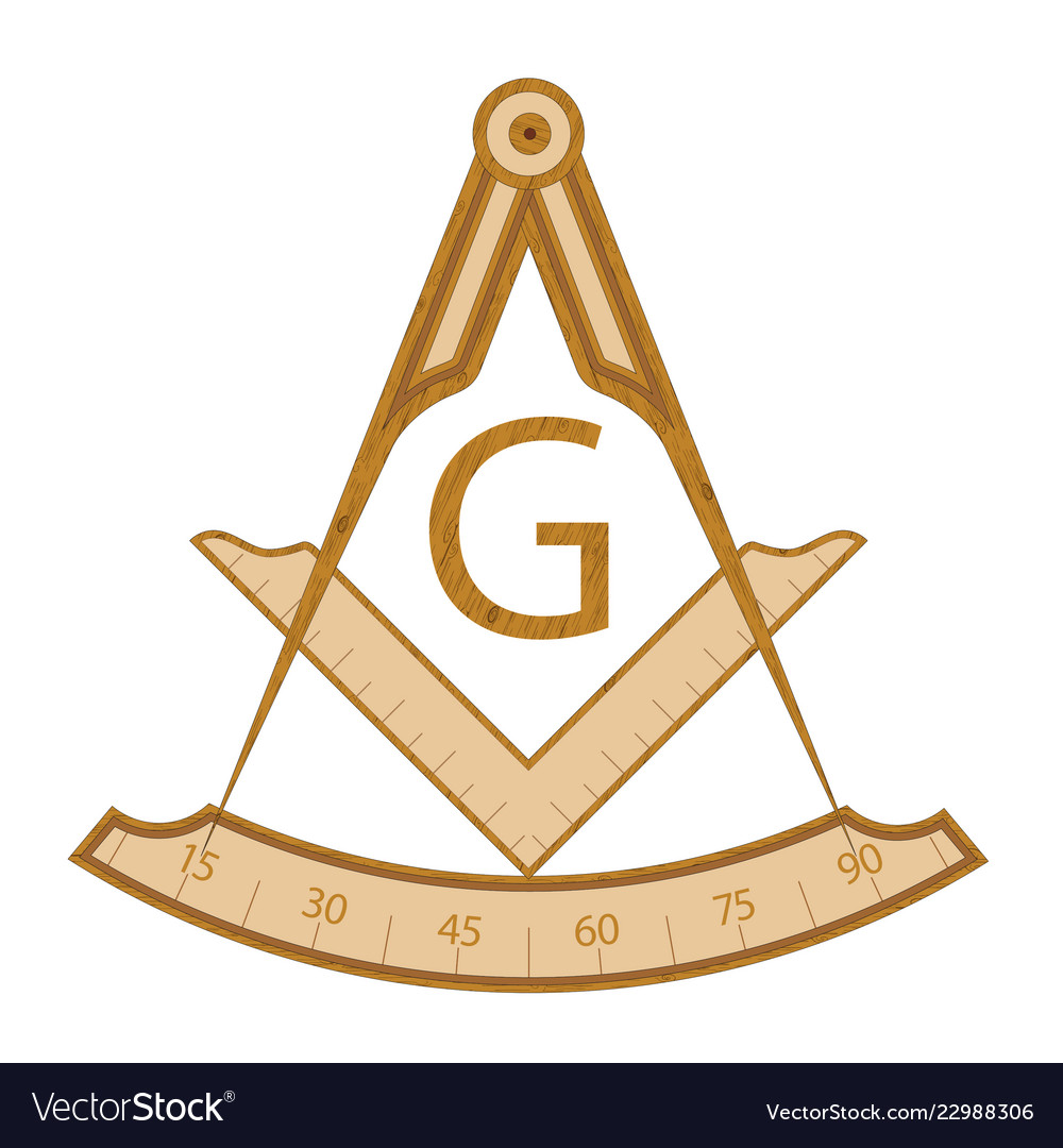 Wooden masonic square and compass symbol vector image