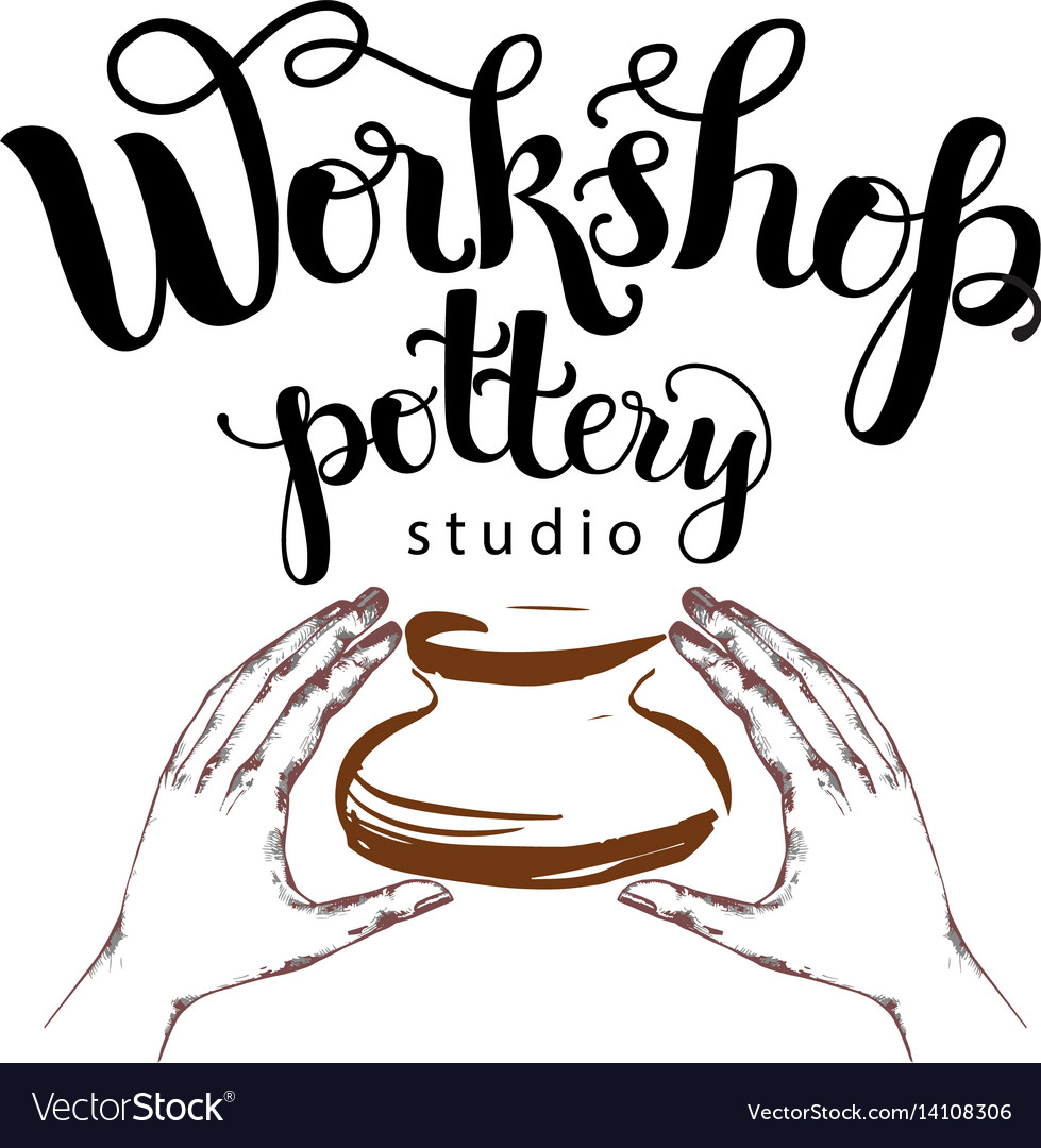 Workshop pottery studio logo vector image