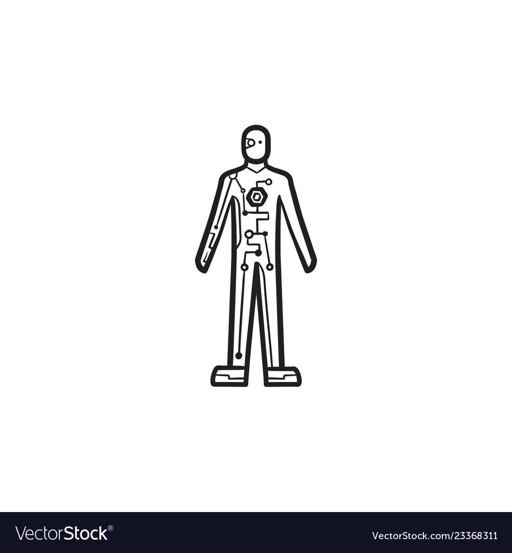 Cyborg body hand drawn outline doodle icon