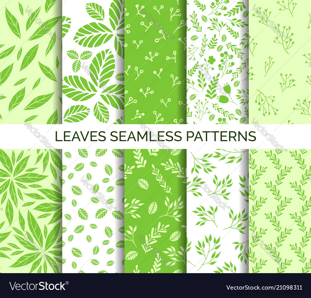 Green leaves seamless pattern set backgrounds