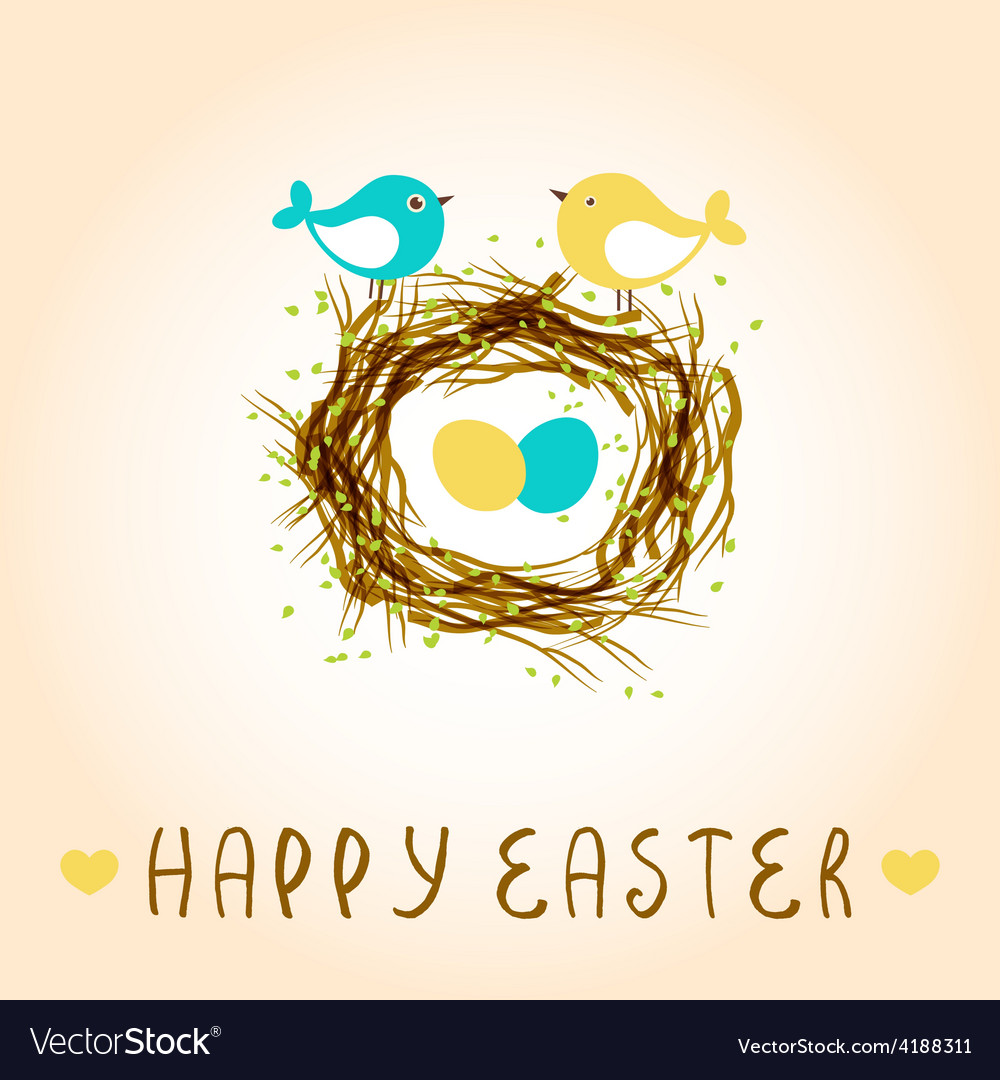 Happy easter card with birds and eggs in the nest