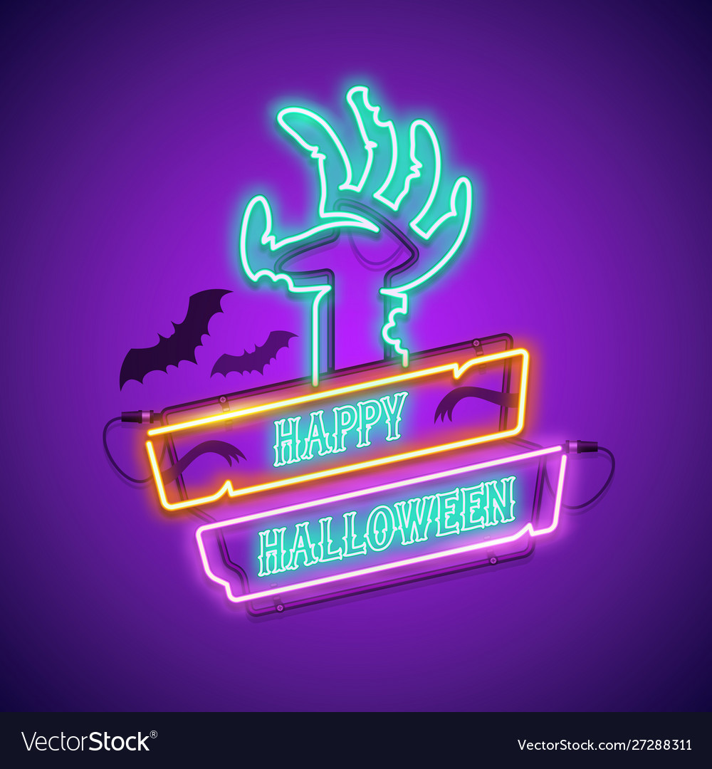 Happy halloween neon sign with zombie hand