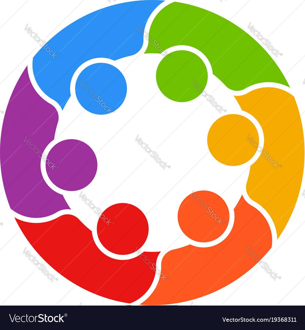 Meeting people circle business logo