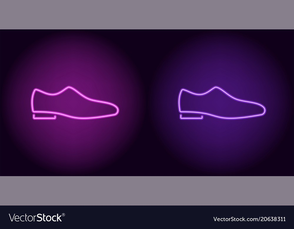 neon man shoe in purple and violet color vector image