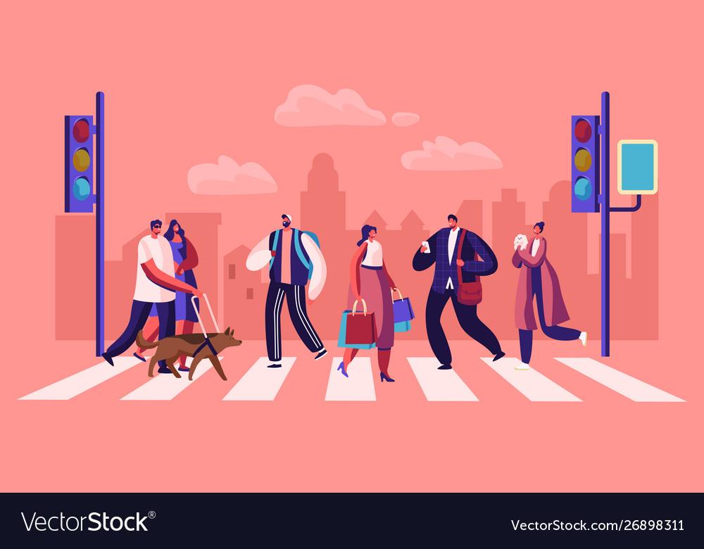 Pedestrians people walking on city street men and