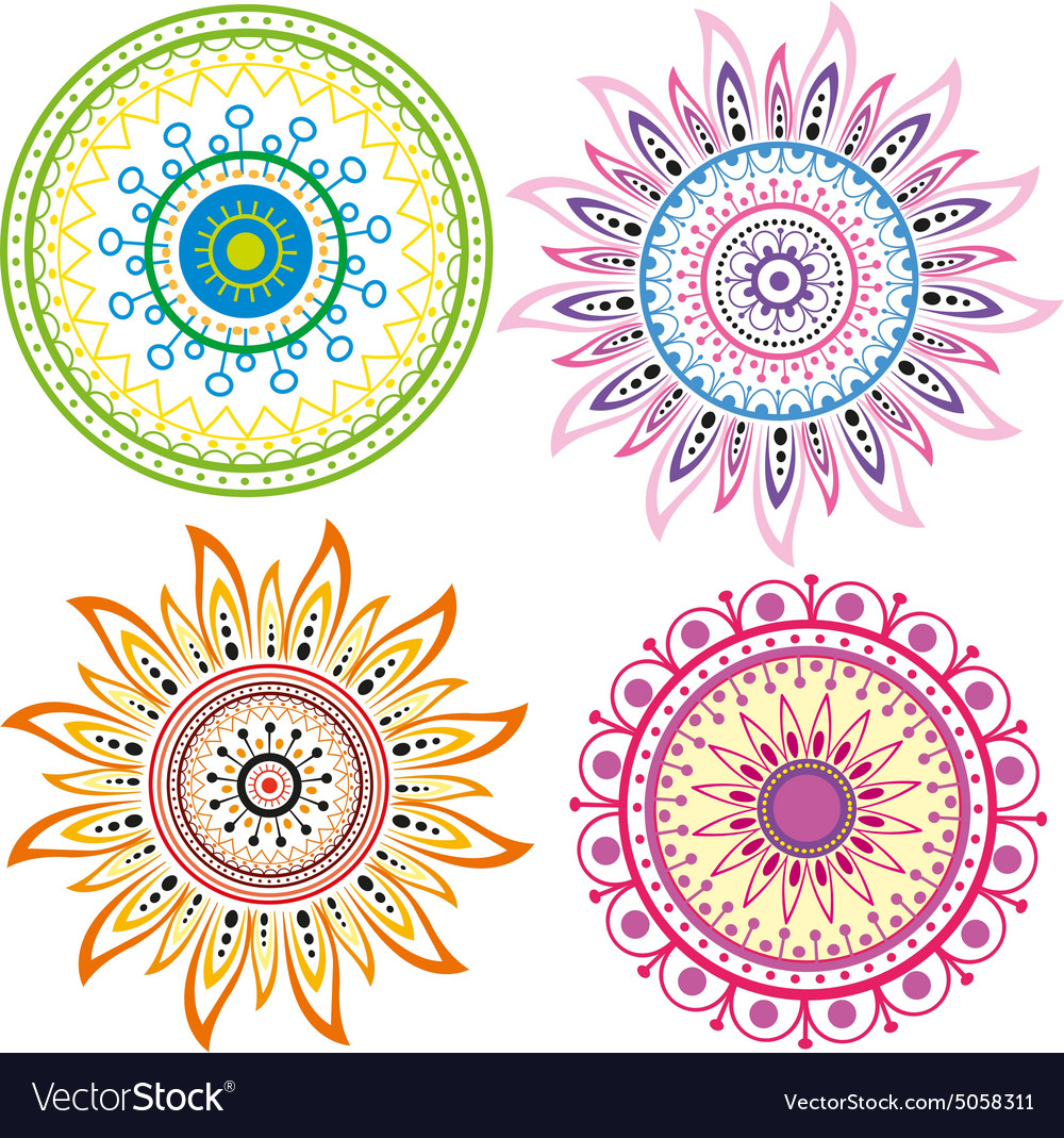 set of color mandala royalty free vector image