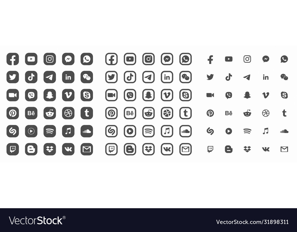 Social media modern flat web icons collection