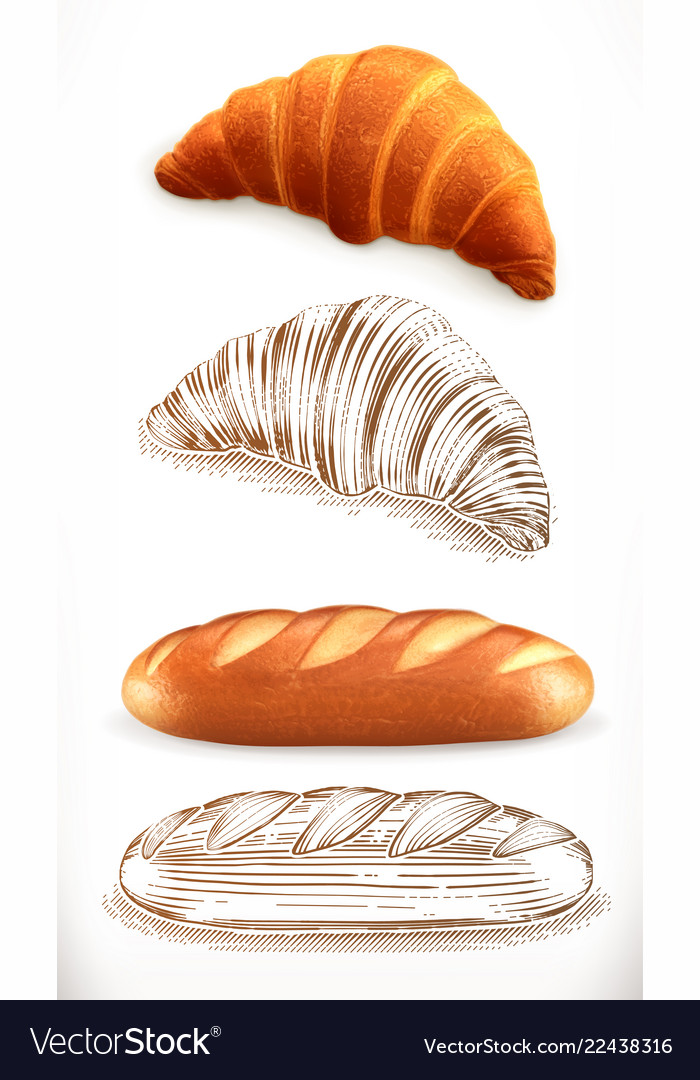 Bread croissant loaf 3d realism and engraving
