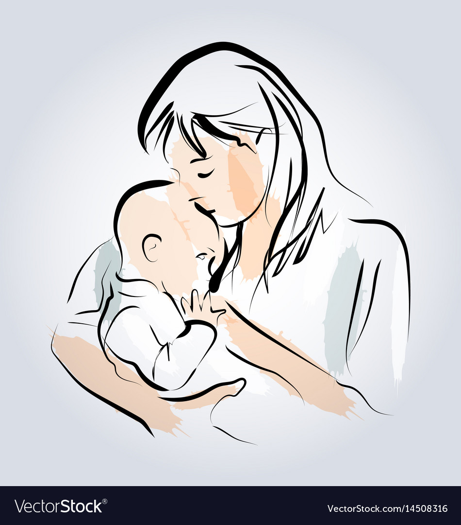 Color line sketch of a mother with a child vector image