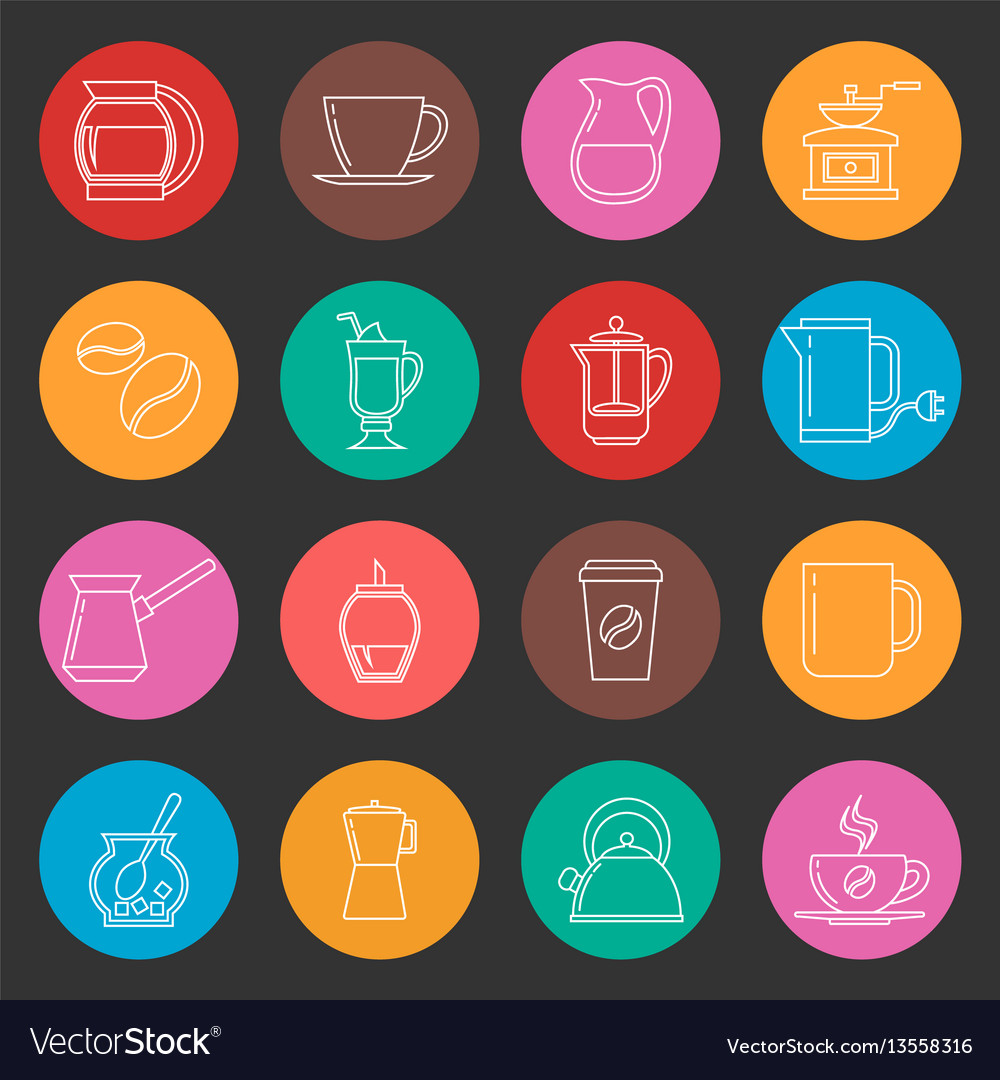 Colorful coffee thin line icons set