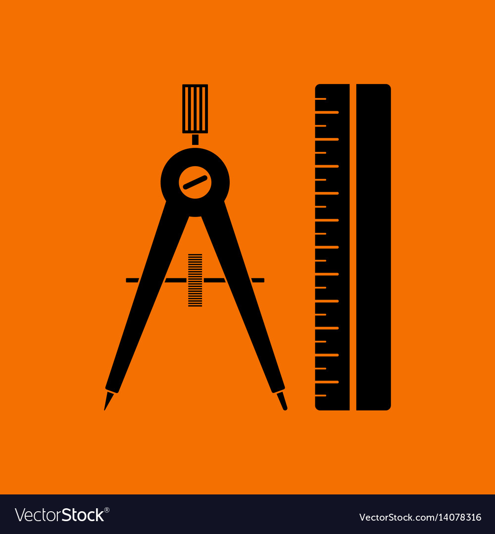 Compasses and scale icon vector image