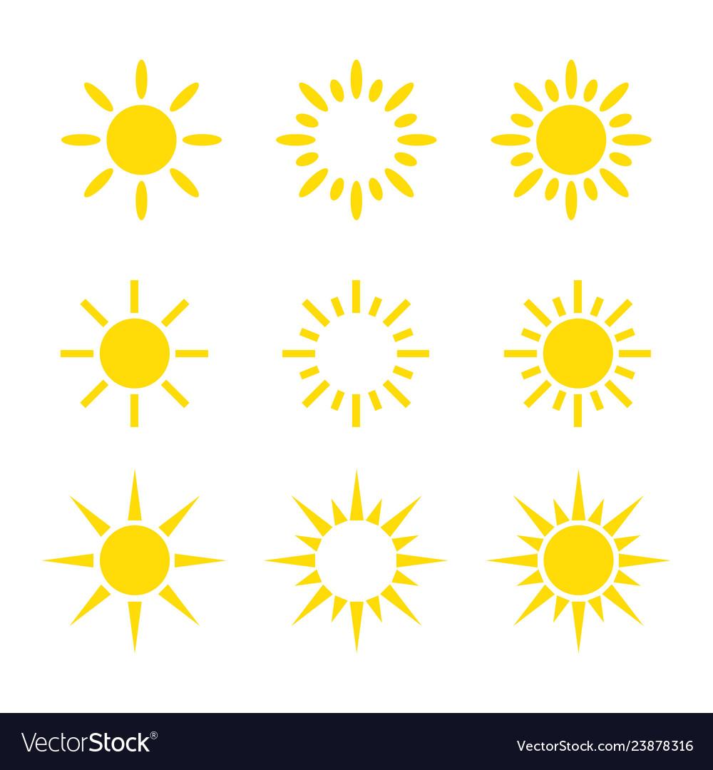 Creative yellow sun icon design collections