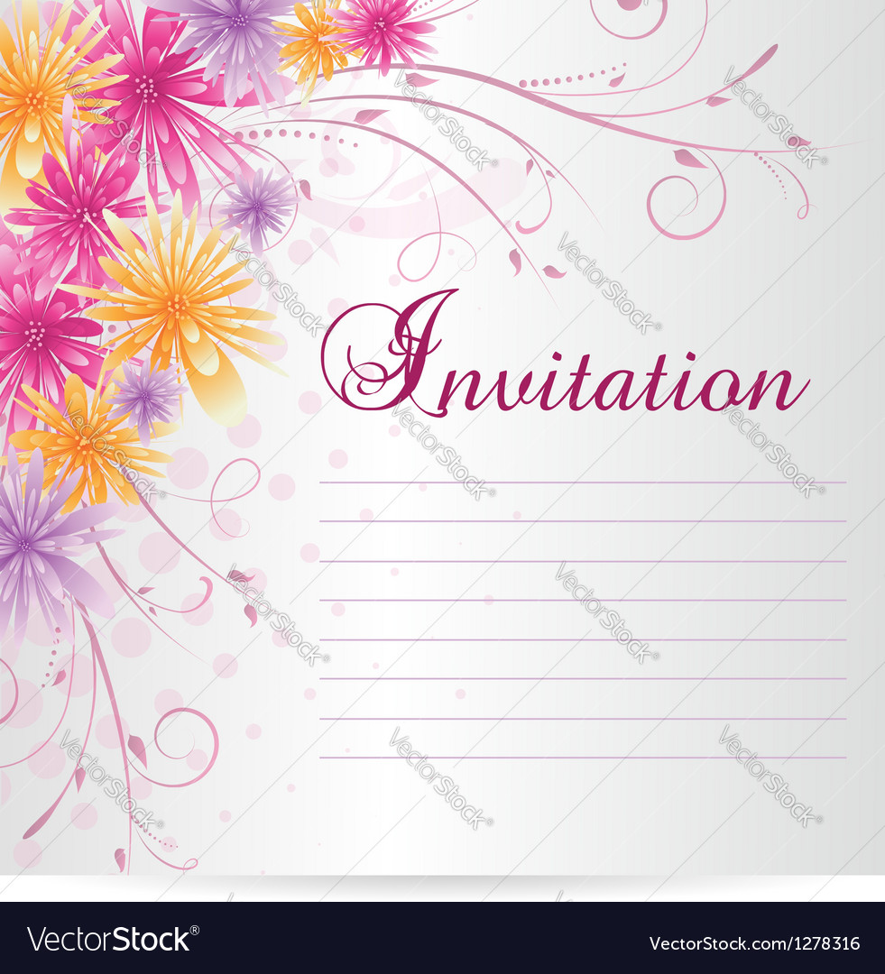 Flower invitation vector image