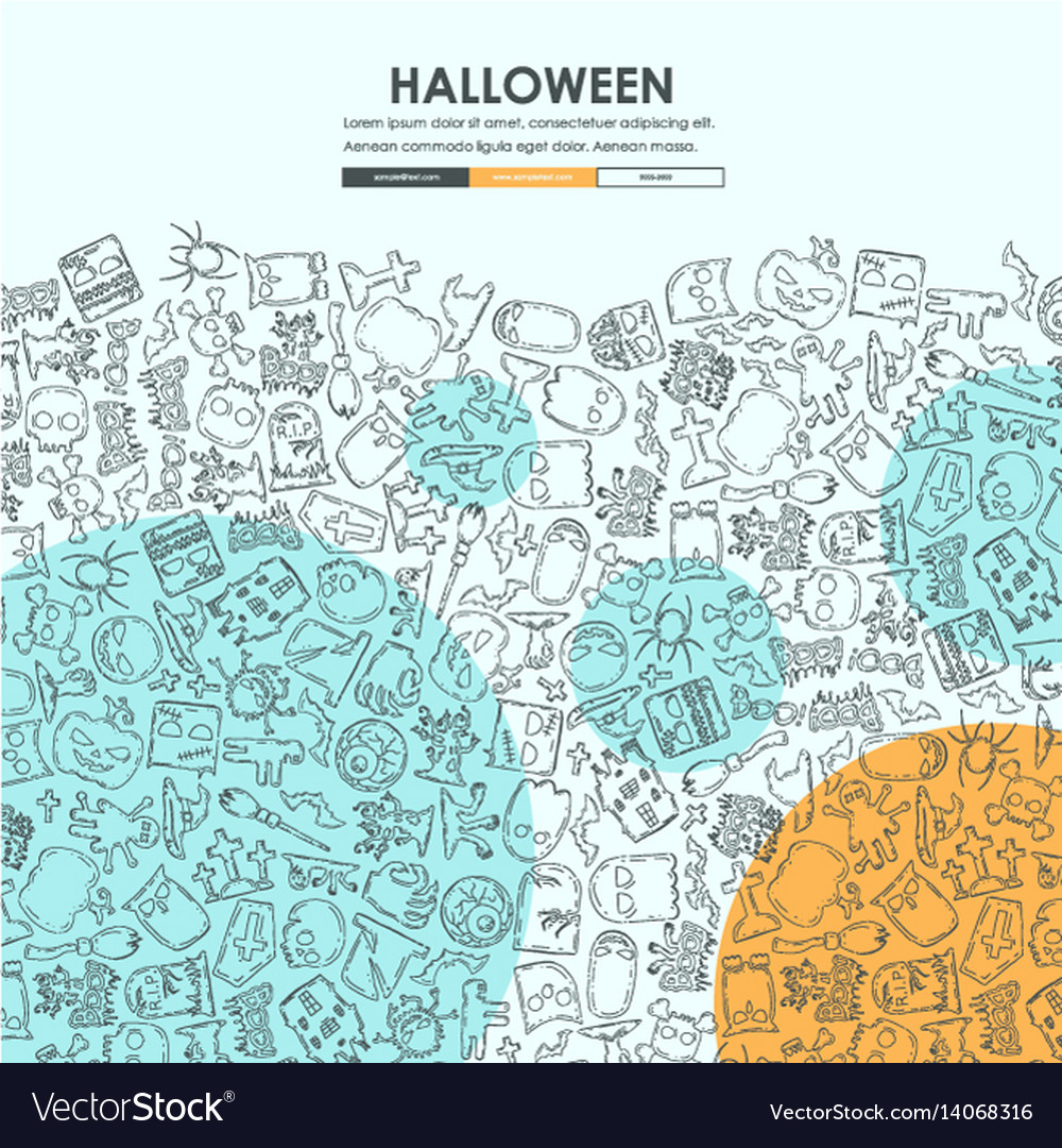halloween doodle website template design vector image