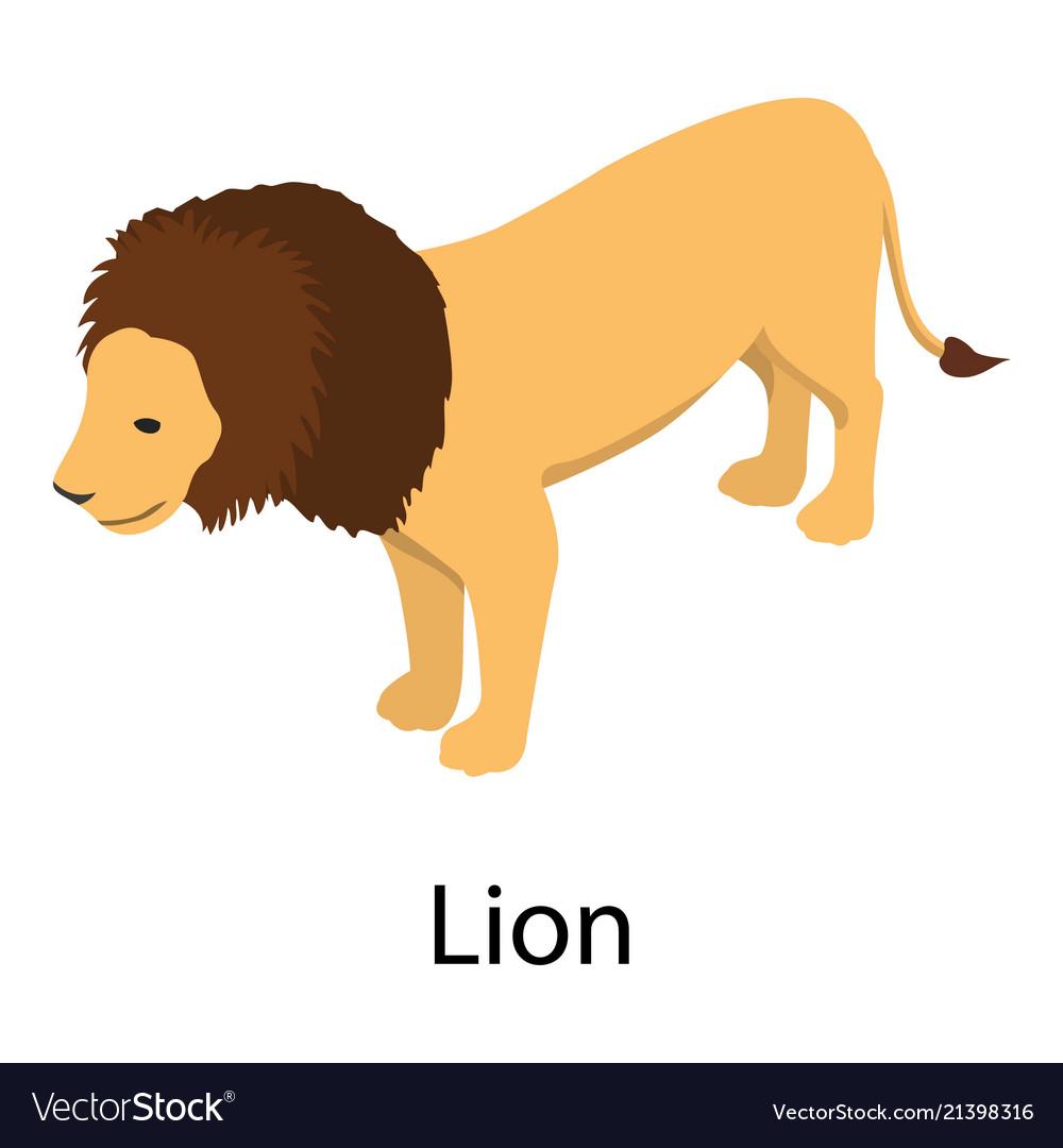 Lion icon isometric style