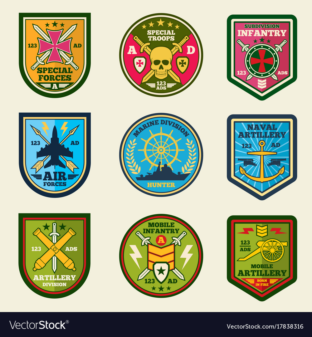 Military patches set army forces emblems