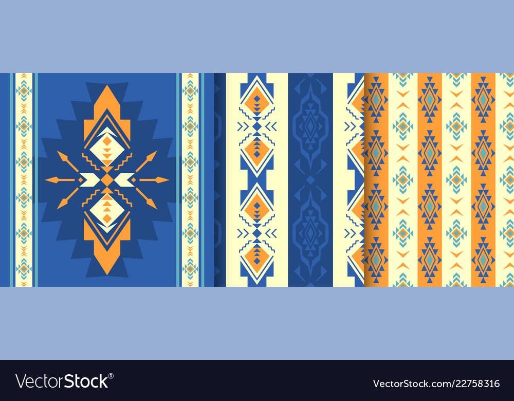 Set of ethnic seamless patterns aztec native