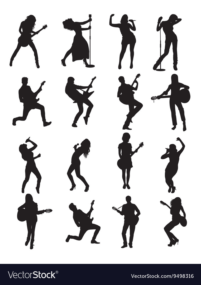 Singer and Guitarist Silhouettes