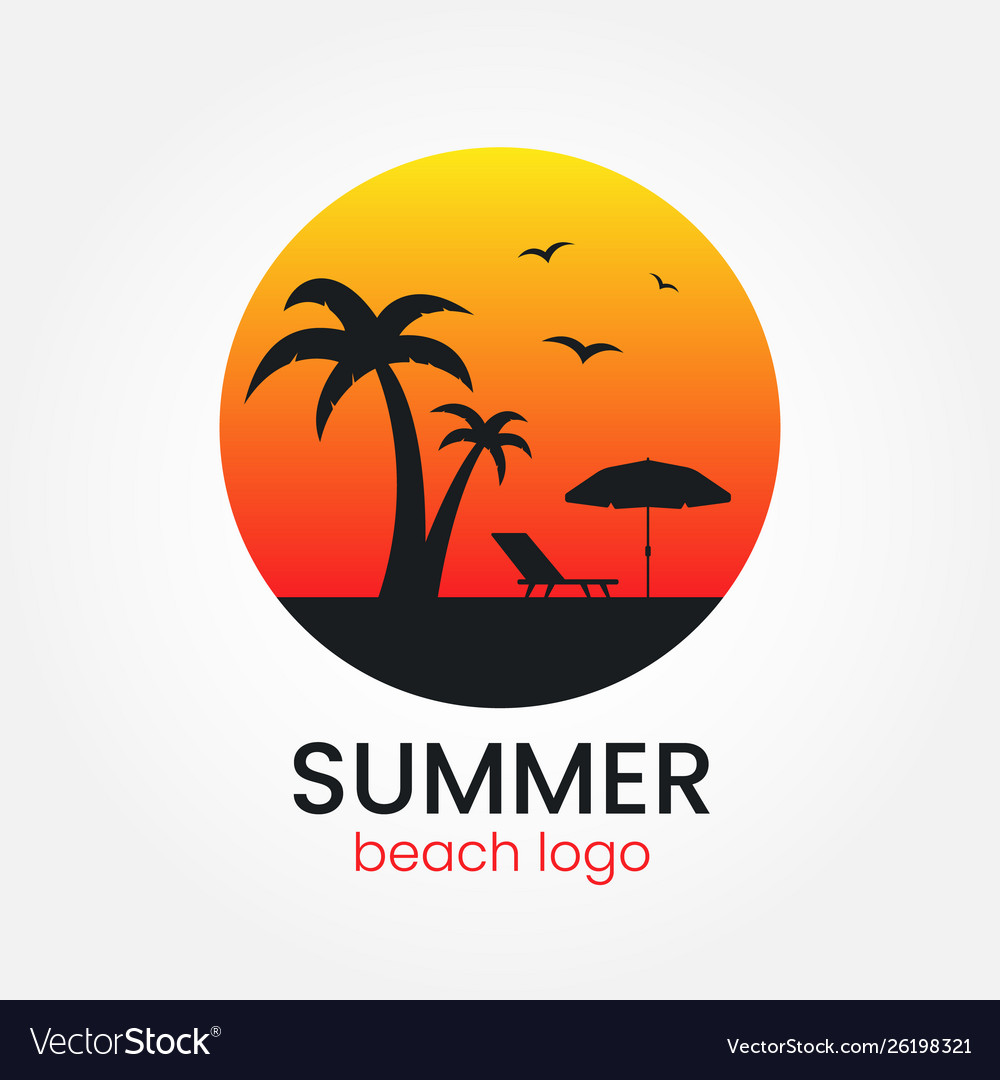 Beach logo design sunset and palm trees round