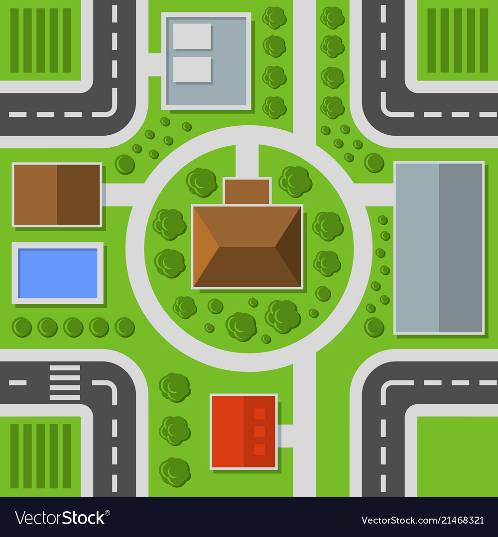 City top view town map seamless pattern