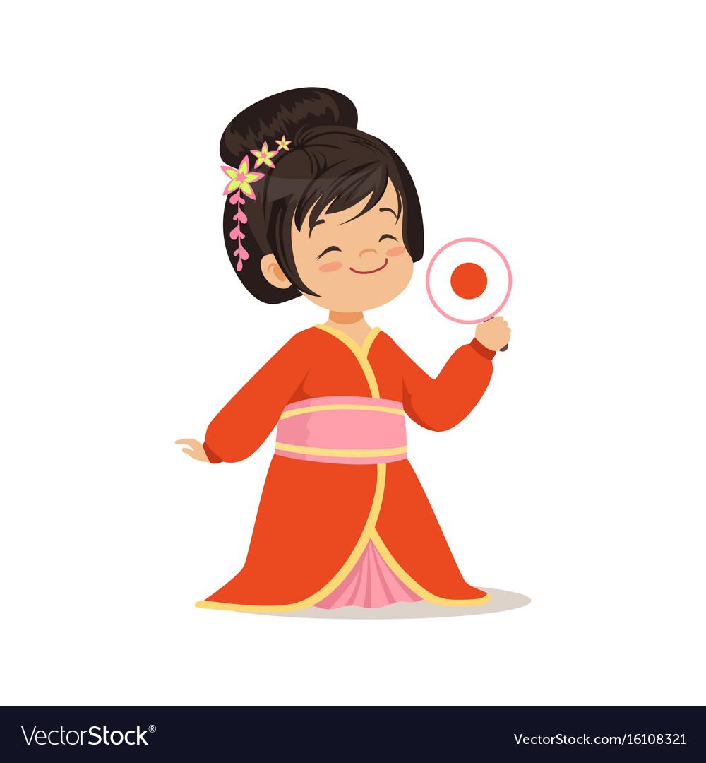 Cute girl wearing red kimono national costume of