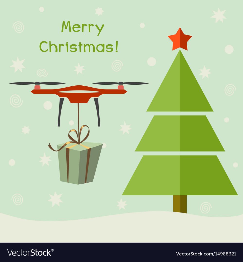 Drone delivering christmas gifts under christmas