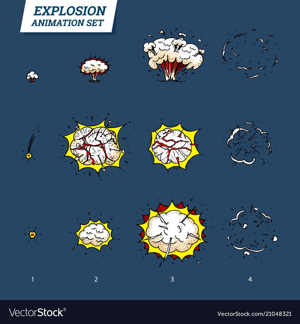 Explosions icons set on white background cartoon