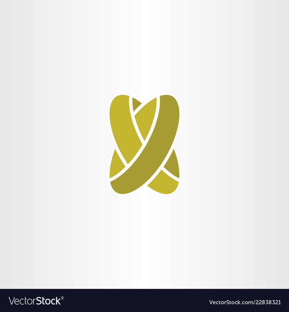 golden wedding rings letter x logo icon vector image