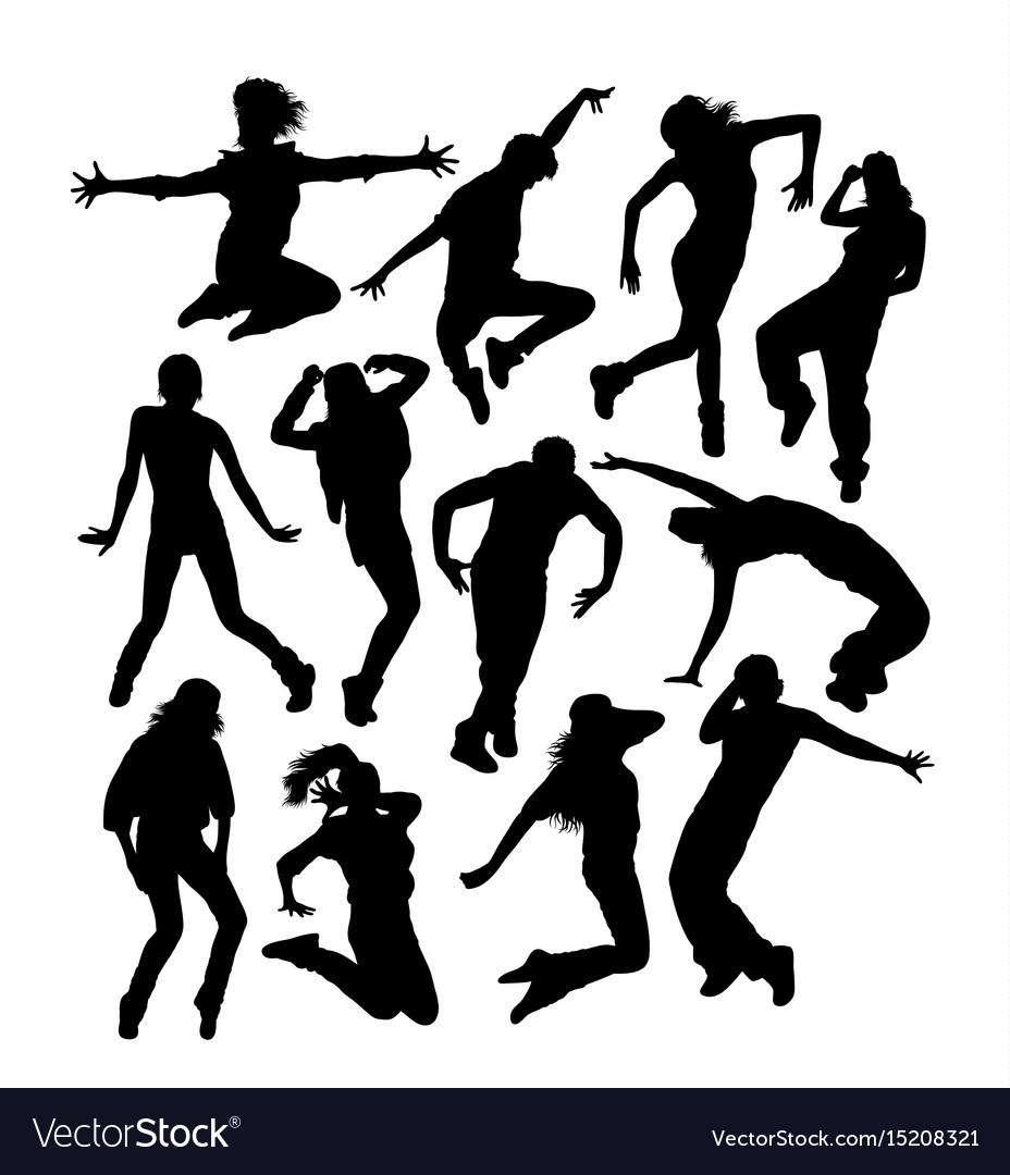 Happy hip hop dancer activity silhouettes vector image