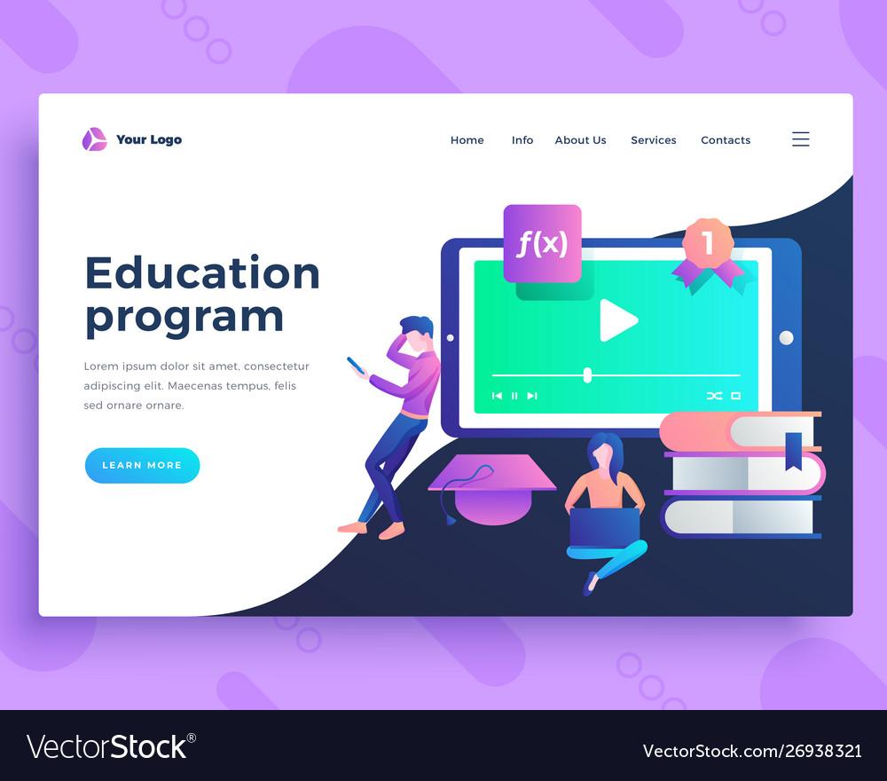 Landing page template education program concept